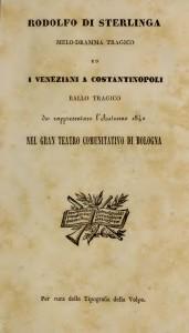 ROSSINI - Rodolfo di Sterlinga - Bologna 1840 - Frontespizio libretto